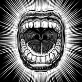 Mouth open scream ink hand draw vintage tattoo print beam Royalty Free Stock Images