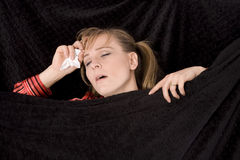 Mouth open sleep sick Stock Photos