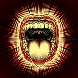 Mouth Open Tongue Scream Vintage Ink Hand Drawing Red. Open mouth with teeth and tongue on radiant beams background in retro stamping hand drawing style. Close Royalty Free Stock Photo