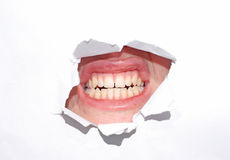 Mouth over white Stock Photography