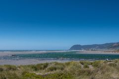 Mouth of the Pistol River. Runs into the Pacific Ocean Stock Images