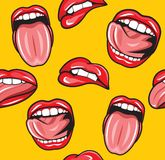 Mouth pop art  seamless pattern Stock Photography