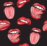 Mouth pop art  seamless pattern Stock Photos