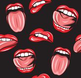Mouth pop art vector seamless pattern royalty free illustration
