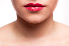 Mouth with red lips. Mouth with big red lips Royalty Free Stock Photos