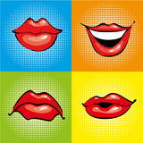 Mouth with red lips in retro pop art style. Vector illustration and comics design icons Royalty Free Stock Images