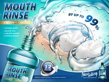 Mouth rinse ads. Gargle your mouth with splashing mouth rinse in 3d illustration vector illustration