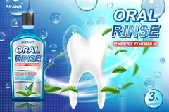 Mouth rinse ads, refreshing mouthwash product with mint leaves and aqua elements. White tooth and Oral rinse package stock illustration