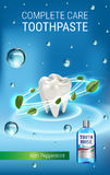 Mouth rinse ads. Vector 3d Illustration with Mouth rinse in bottle and mints leaves. stock illustration