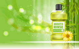 Mouth Rinse Design Cosmetics Product Bottle with Bamboo and Cale Stock Photo