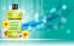Mouth Rinse Design Cosmetics Product Bottle with Flowers   Royalty Free Stock Images
