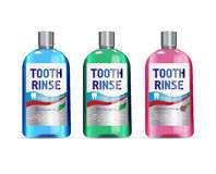 Mouth rinse in different colors of bottles. Vector illustration of realistic bottle of mouth rinse on white background Stock Photo