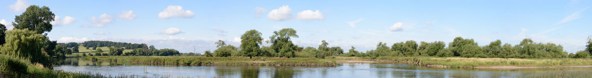 Mouth of the River Dove. Panoramic image of the mouth of the River Dove at its confluence with the River Trent at Newton Solney, South Derbyshire, UK. The 45 Stock Image