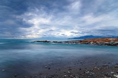 Mouth of the river Entella - Chiavari - Lavagna - Long exposure. Mouth of the river Entella - Chiavari - Lavagna - Italy - Long exposure Royalty Free Stock Photography