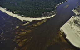 Mouth of the river Gauja. Near Carnikava village, Riga gulf, aerial view Royalty Free Stock Photography