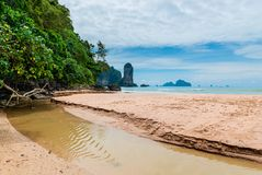 The mouth of the river, a view of the sandy beach. The sea and the mountains in Thailand Stock Photo