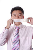 Mouth  sealed by adhesive Tape Stock Image