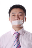Mouth  sealed by adhesive Tape Stock Photos