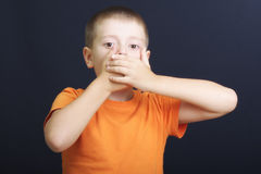 Mouth shut with hands Stock Image