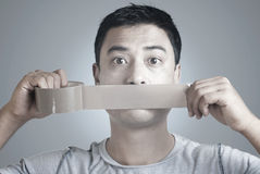 Mouth Shut with Tape Stock Images