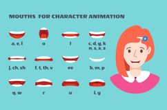 Mouth sync. Girl face with lips talking expression. Articulation and smile, speaking female mouths animation with royalty free illustration