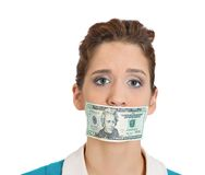 Mouth taped with money, corruption Stock Photography