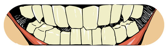 Mouth and teeth. Teeth skateboard print in the vector royalty free illustration
