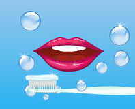 Mouth and tooth paste Royalty Free Stock Images