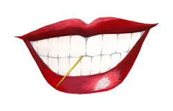 Mouth with toothpick Royalty Free Stock Photos
