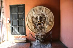 The Mouth of Truth Bocca della Verita, Church of Santa Maria i Royalty Free Stock Photo