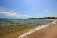 The mouth of the Veleka river at Sinemorets, Bulgaria. Seascape with beach at the mouth of the Veleka River, Sinemorets , Bulgaria Royalty Free Stock Photos