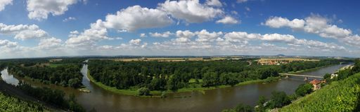 Mouth of the Vltava river in the river Elbe at Melnik Stock Images