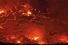 Mouth of the volcano with magma. Molten magma in the muzzle.  Royalty Free Stock Image