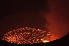 Mouth of the volcano with magma. Molten magma in the muzzle.  Stock Photos