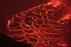 Mouth of the volcano with magma. Molten magma in the muzzle.  Royalty Free Stock Photography