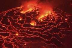 Mouth of the volcano with magma. Molten magma in the muzzle.  Stock Image