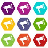 Mouthpiece icon set color hexahedron. Mouthpiece icon set many color hexahedron isolated on white vector illustration Stock Photography
