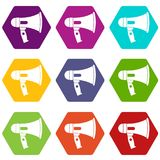 Mouthpiece icon set color hexahedron. Mouthpiece icon set many color hexahedron isolated on white vector illustration Royalty Free Stock Image