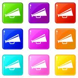 Mouthpiece icons 9 set. Mouthpiece icons of 9 color set isolated vector illustration Royalty Free Stock Photography