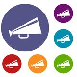 Mouthpiece icons set. In flat circle reb, blue and green color for web Stock Images
