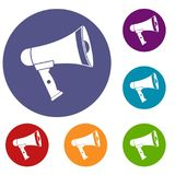 Mouthpiece icons set. In flat circle reb, blue and green color for web Stock Photo