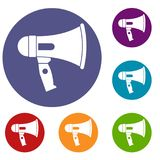 Mouthpiece icons set. In flat circle reb, blue and green color for web Royalty Free Stock Image
