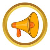 Mouthpiece vector icon. In golden circle, cartoon style isolated on white background Stock Photo