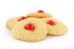 Mouths angel biscuits with candied cherry. Delicious and soft butter cookies with cherry Stock Photography