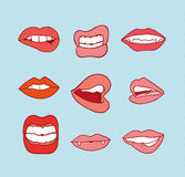 Mouths collection in different expressions.  icon illustration Royalty Free Stock Photo