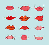Mouths collection in different expressions.  icon illustration Stock Image