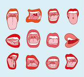 Mouths collection in different expressions.  icon illustration Royalty Free Stock Images