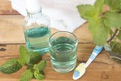 Mouthwash, υγειονομική περίθαλψη οδοντοβουρτσών για τη στοματική κοιλότητα με peppermint στοκ εικόνα