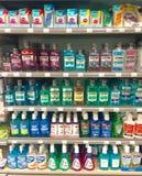 Mouthwash for sale in supermarket. Major brand mouthwash on supermarket shelves stock image