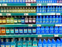 Mouthwash sold in a grocery Stock Image
